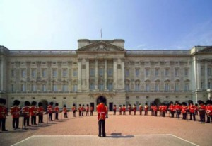 Band performing during The Changing of the Guard ceremony taking place in the courtyard of Buckingham Palace
